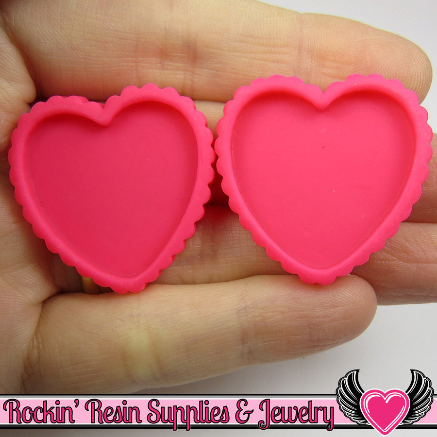 Hot Pink Resin Cameo Setting (5 pieces) Heart Bezel