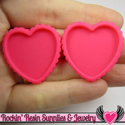Hot Pink Resin Cameo Setting (5 pieces) Heart Bezel - Rockin Resin