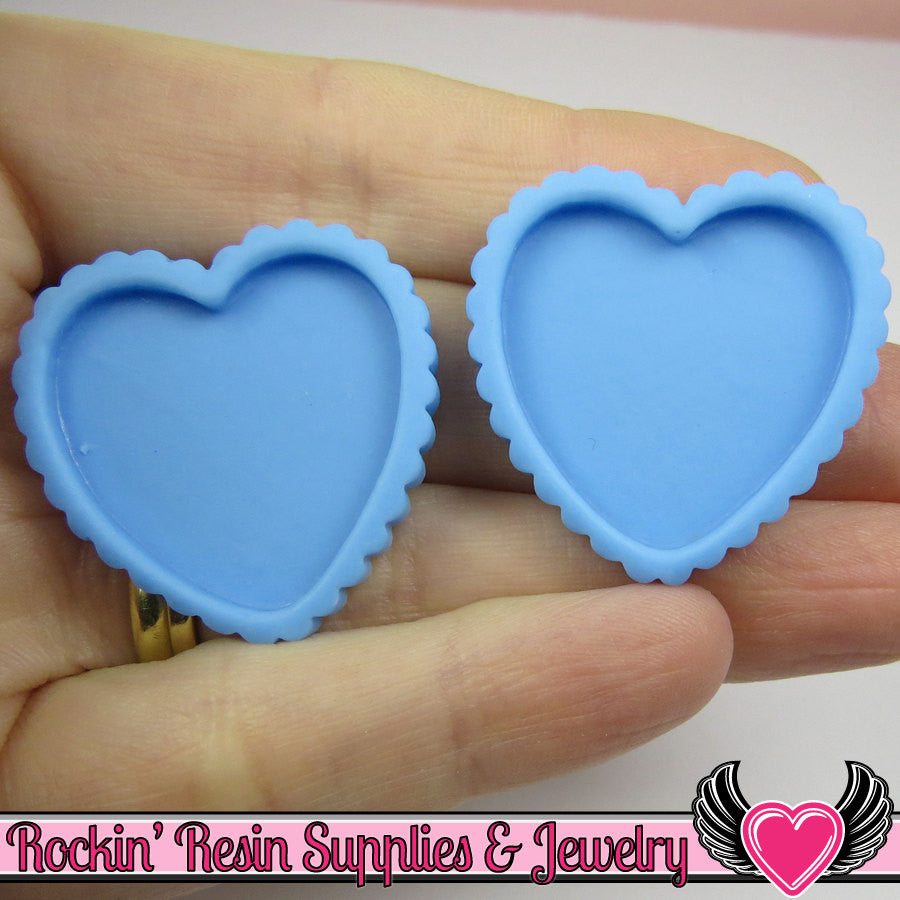 Light Blue Resin Cameo Setting (5 pieces) Heart Bezel