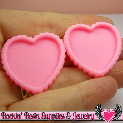 Light Pink Resin Cameo Setting (5 pieces) Heart Bezel - Rockin Resin