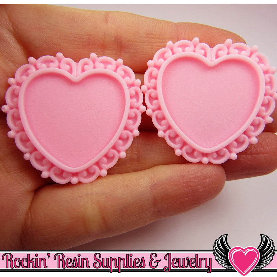 Light Pink Swirl Resin Cameo Setting (5 pc) Heart Bezel