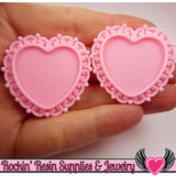 Light Pink Swirl Resin Cameo Setting (5 pc) Heart Bezel - Rockin Resin
