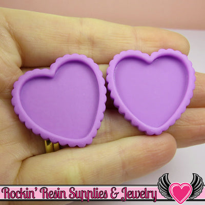 Purple Resin Cameo Setting (5 pieces) Heart Bezel - Rockin Resin