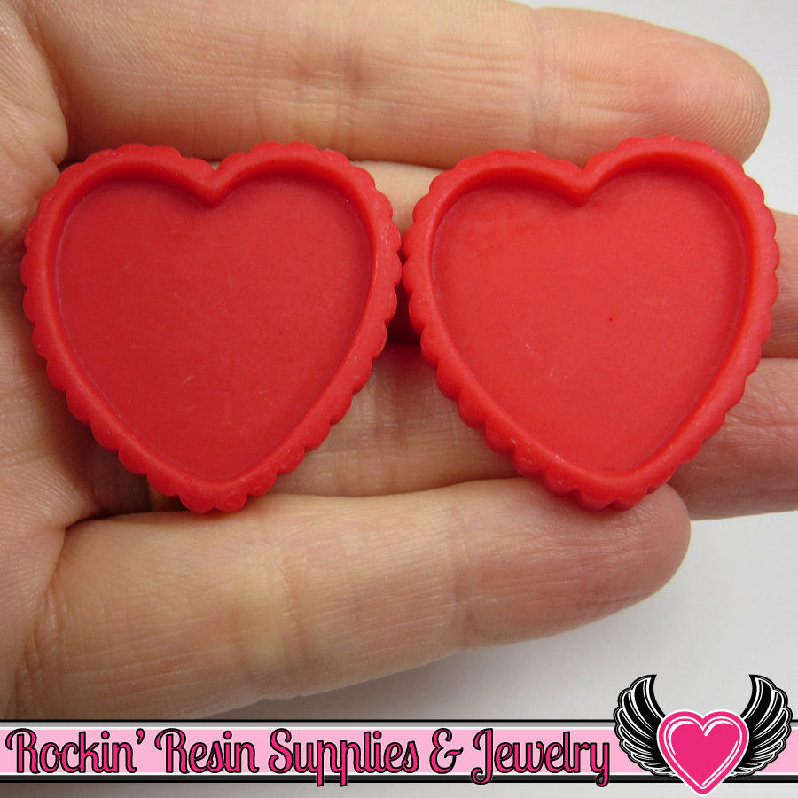 Red Resin Cameo Setting (5 pieces) Heart Bezel