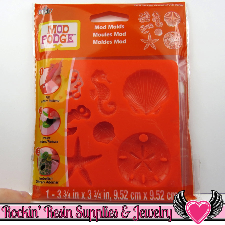 Mod Podge Mod Melts SEA LiFE SILICONE MOLD - Rockin Resin  - 1