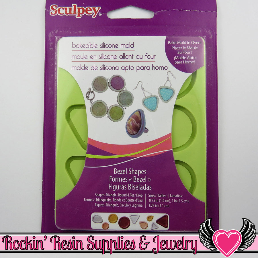 SCULPEY Bakable BEZEL Silicone Mold 3 sizes Round, Triangle, & Tear Drop