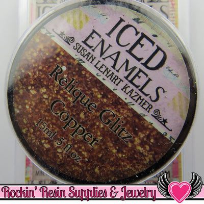 Ice Resin ICED ENAMELS Relique Powder in Glitz Copper Cold Enameling Powder - Rockin Resin  - 1