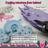 Jesse James Buttons 5pc HOP HOP! Bunny Rabbit Buttons OR Turn them Into Flatback Decoden Cabochons - Rockin Resin  - 3