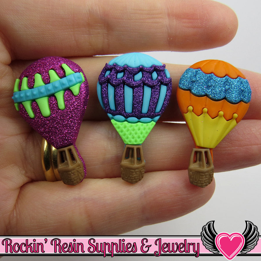 Jesse James Buttons 3 HOT AIR BALLoONS / Turn them Into Decoden Cabochons - Rockin Resin  - 1