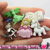 Jesse James Buttons 5pc Once Upon A Time / Turn them Into Flatback Decoden Cabochons - Rockin Resin  - 1