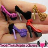 Jesse James Buttons 5pc HIGH HEELs / Turn them Into Flatback Decoden Cabochons - Rockin Resin  - 1