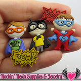 Jesse James Buttons 5 pc SUPER HEROES OR Turn them Into Decoden Cabochons - Rockin Resin  - 1
