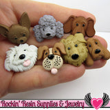 Jesse James Buttons 7 pc FUZZY FACES Dogs OR Turn them Into Decoden Cabochons - Rockin Resin  - 1