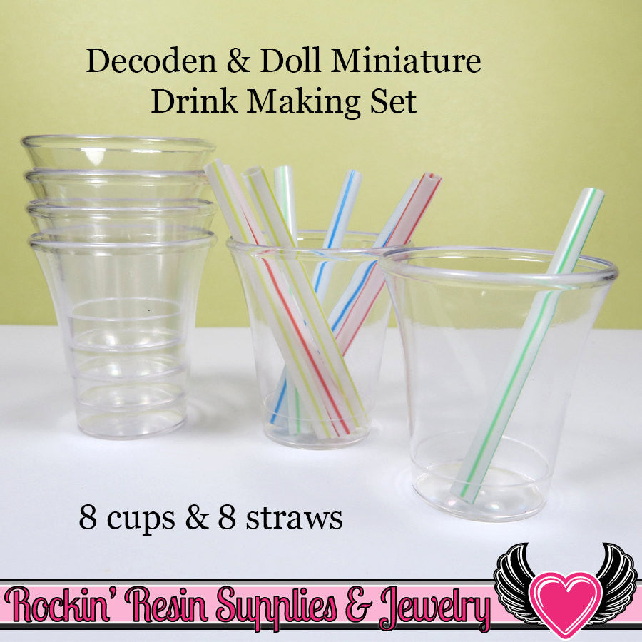 Miniature Doll Drink Making Kit 8 cups & 8 mini straws - Rockin Resin  - 1