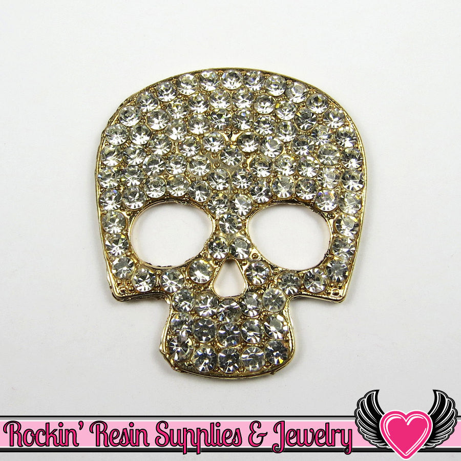 Crystal Covered SKULL HEAD FACE Alloy Decoden Cabochon Cell phone Decoration