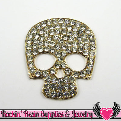 Crystal Covered SKULL HEAD FACE Alloy Decoden Cabochon Cell phone Decoration - Rockin Resin  - 1
