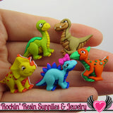 Jesse James Buttons 5 pc DINO-MITE Dinosaur Buttons OR Turn them Into Flatback Decoden Cabochons - Rockin Resin  - 1