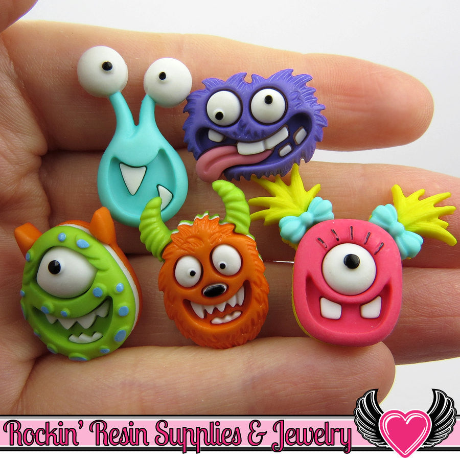 Jesse James Buttons 5 pc MAD for MONSTERS OR Turn them Into Flatback Decoden Cabochons - Rockin Resin  - 1