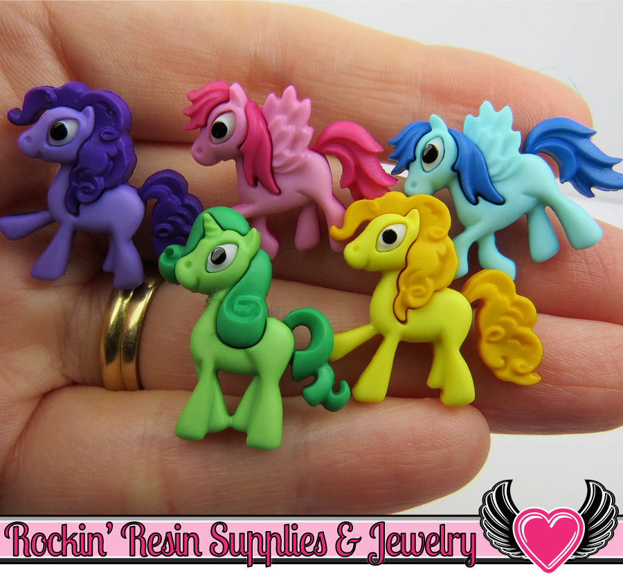 Jesse James Buttons 5 pc PONY PARADE Horse Buttons OR Turn them Into Flatback Decoden Cabochons