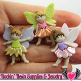 Jesse James Buttons 3 pc FLOWER FAIRIES OR Turn them Into Flatback Decoden Cabochons - Rockin Resin  - 1