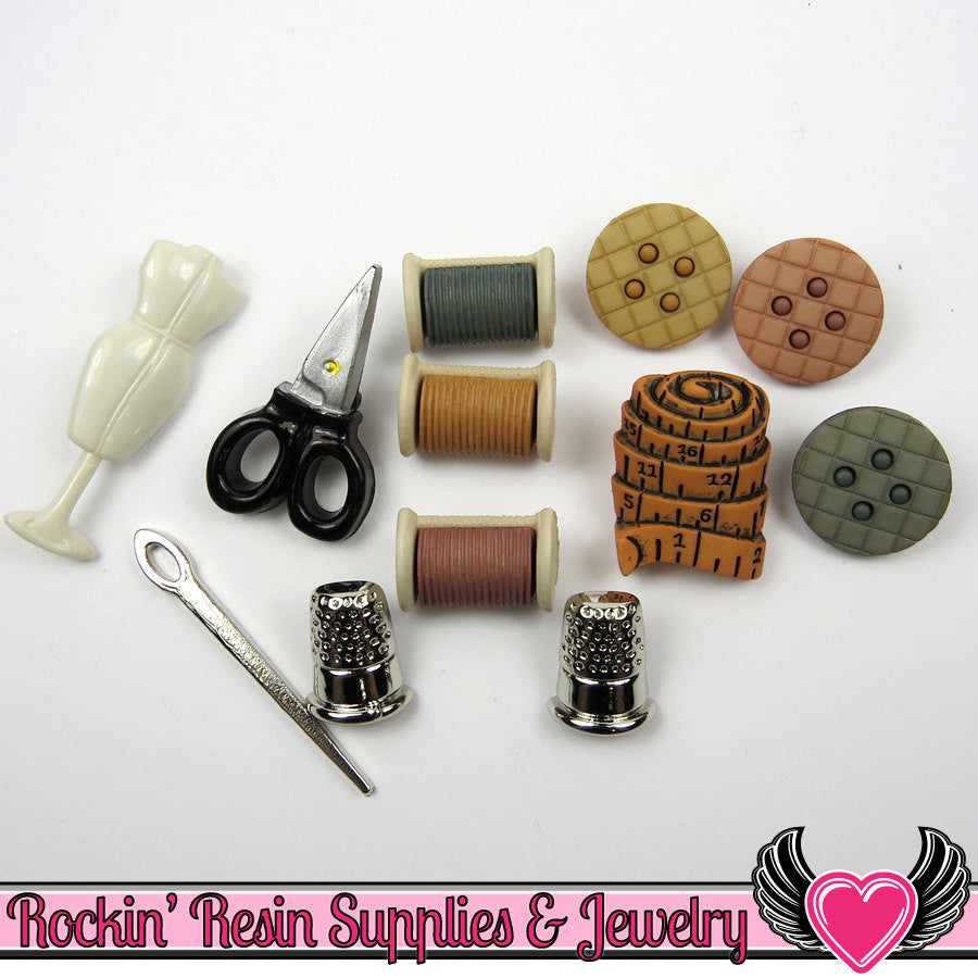 Jesse James Buttons 12 pc SEWING ROOM - Rockin Resin  - 1