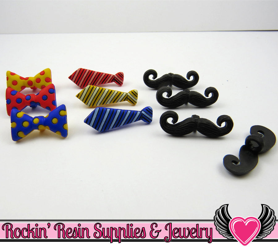 Jesse James Buttons 10 pc Mustache, Bowtie, & Neck Tie Buttons - Rockin Resin  - 1