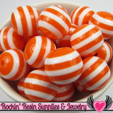20mm ORANGE Striped Beads (10 pieces) GUMBALL Chunky Beads - Rockin Resin  - 4