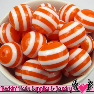 20mm ORANGE Striped Beads (10 pieces) GUMBALL Chunky Beads - Rockin Resin  - 1