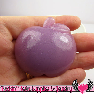 2pc XL Purple Glitter APPLE Fruit Flatback Decoden Kawaii Cabochons 47 x 50 mm - Rockin Resin  - 1