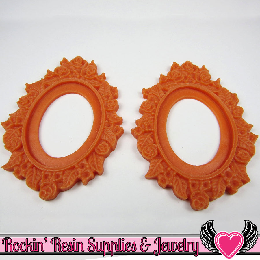 2 pcs 30x40mm Flower Resin CAMEO SETTING in Pastel Orange Red