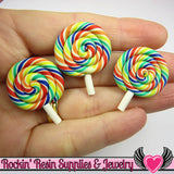 5 pc Polymer Clay Rainbow Swirl LOLLIPOP  Kawaii Decoden Cabochons - Rockin Resin