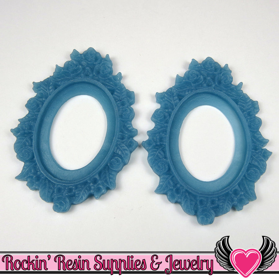2 pcs 30x40mm Flower Resin CAMEO SETTING in Blue