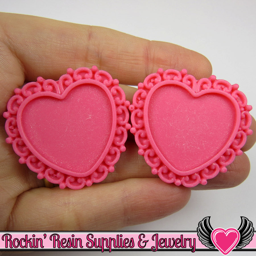 Pink Swirl Resin Cameo Setting (5 pc) Heart Bezel Blank Frame