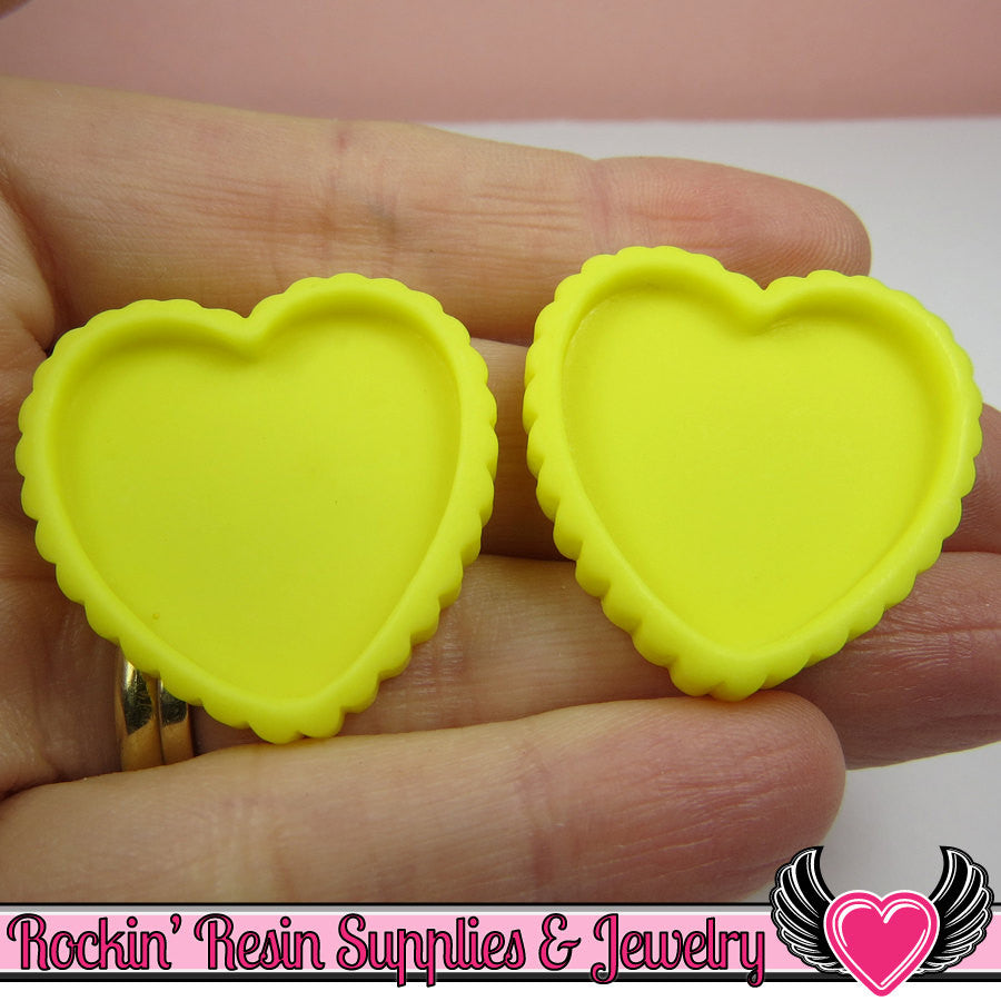 Yellow Resin Cameo Setting (5 pieces) Heart Bezel Blank Frame