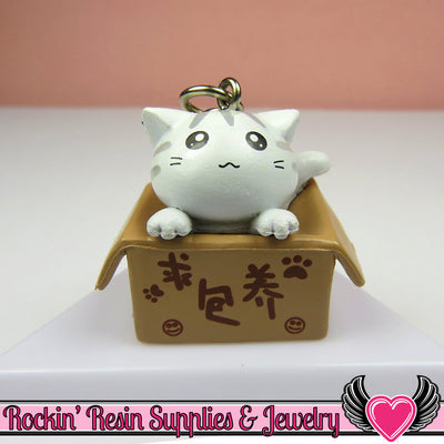 White Anime CAT in a BOX Cellphone Dust Plug Charm or Cabochon - Rockin Resin  - 1