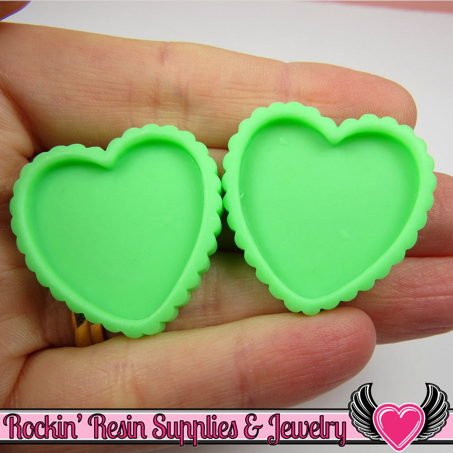 Green Resin Cameo Setting (5 pieces) Heart Bezel Blank Frame