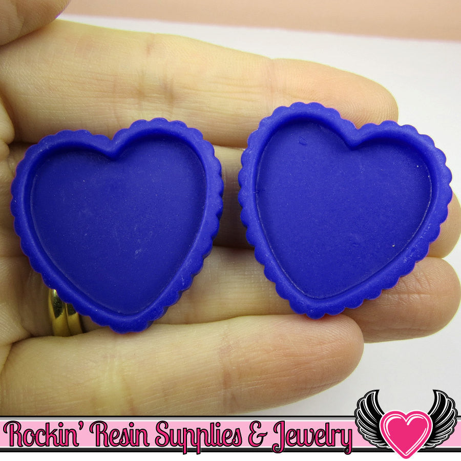 Dark Blue Resin Cameo Setting (5 pieces) Heart Bezel