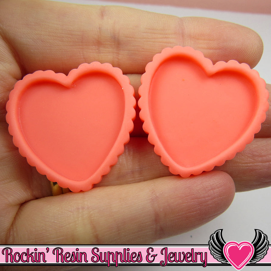 Pink Melon Resin Cameo Setting (5 pieces) Heart Bezel