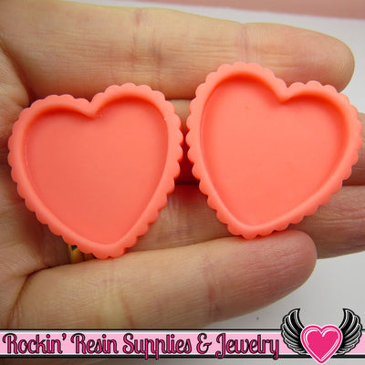 Pink Melon Resin Cameo Setting (5 pieces) Heart Bezel - Rockin Resin