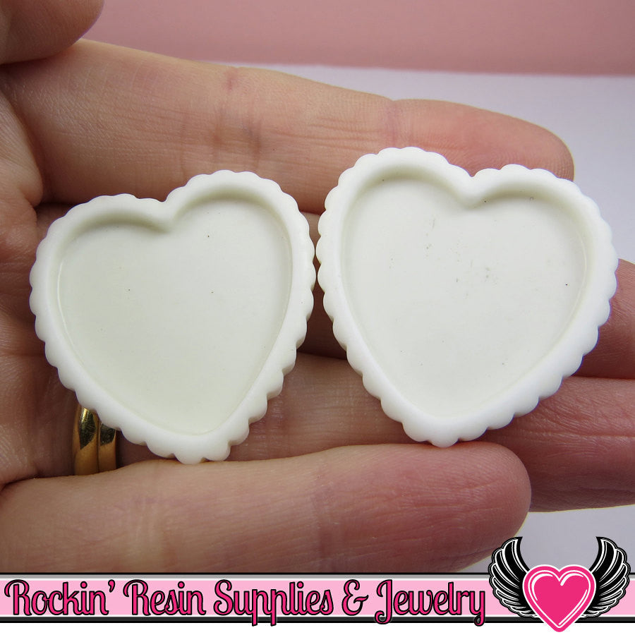 White Resin Cameo Setting (5 pieces) heart Bezel Blank - Rockin Resin