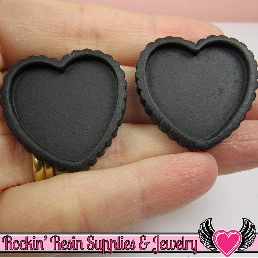 Black Resin Cameo Setting (5 pieces) Heart Bezel