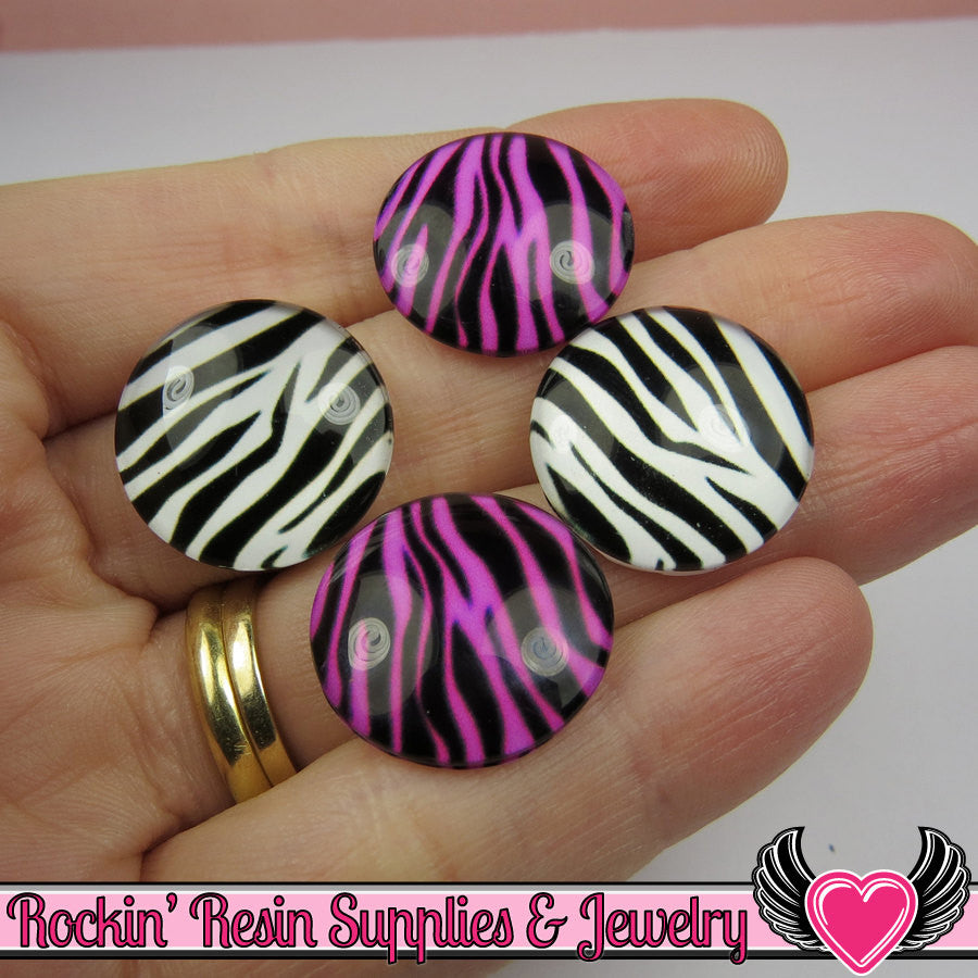 6 pc ZEBRA GLASS DOMES Cabochon / Animal print Decoden Flatback Cabochons 20mm