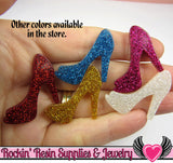 5 pcs Blue GLiTTER HIGH HEEL SHOE Girly Resin Flatback Decoden Kawaii Cabochon 25x30mm - Rockin Resin  - 2