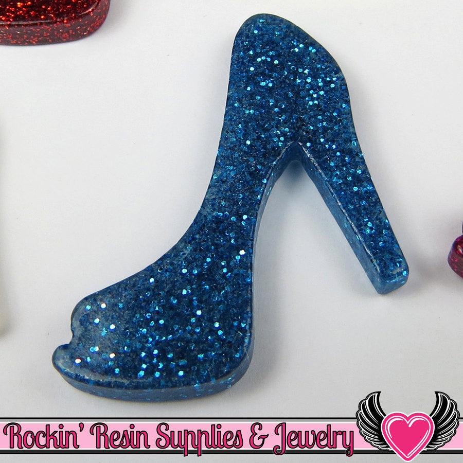 5 pcs Blue GLiTTER HIGH HEEL SHOE Girly Resin Flatback Decoden Kawaii Cabochon 25x30mm - Rockin Resin  - 1