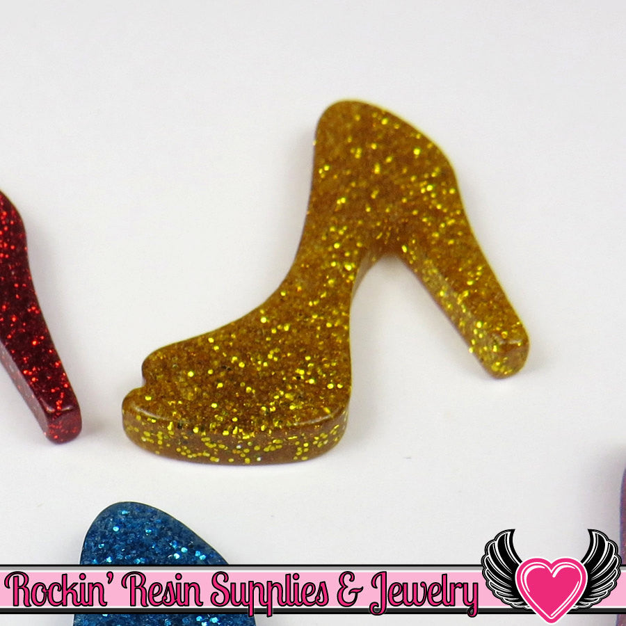 5 pcs Gold GLiTTER HIGH HEEL SHOE Girly Resin Flatback Kawaii Cabochon 25x30mm - Rockin Resin  - 1