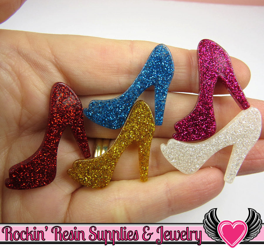 5 pcs GLiTTER HIGH HEEL SHOE Girly Resin Flatback Decoden Kawaii Cabochon 25x30mm - Rockin Resin  - 1