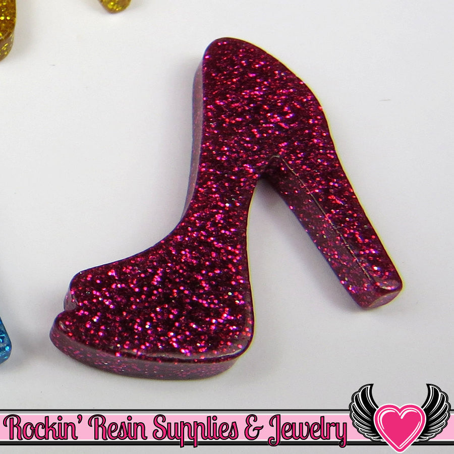 5 pcs Fuchsia Pink GLiTTER HIGH HEEL SHOE Girly Resin Flatback Kawaii Cabochon 25x30mm - Rockin Resin  - 1