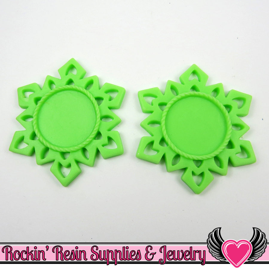 SNOWFLAKE STAR CAMEO SeTTING 4pc Lime Green Fits 25mm Cameos