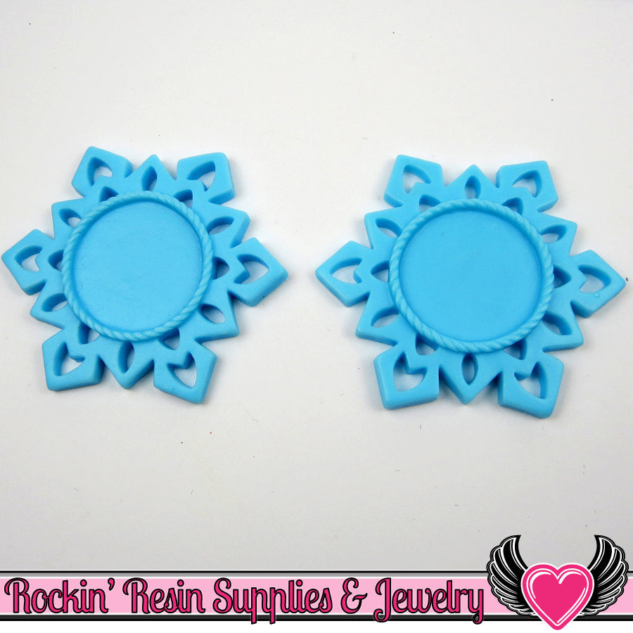 SNOWFLAKE STAR CAMEO SeTTING Light Blue 4pc Fits 25mm Cameos - Rockin Resin  - 1