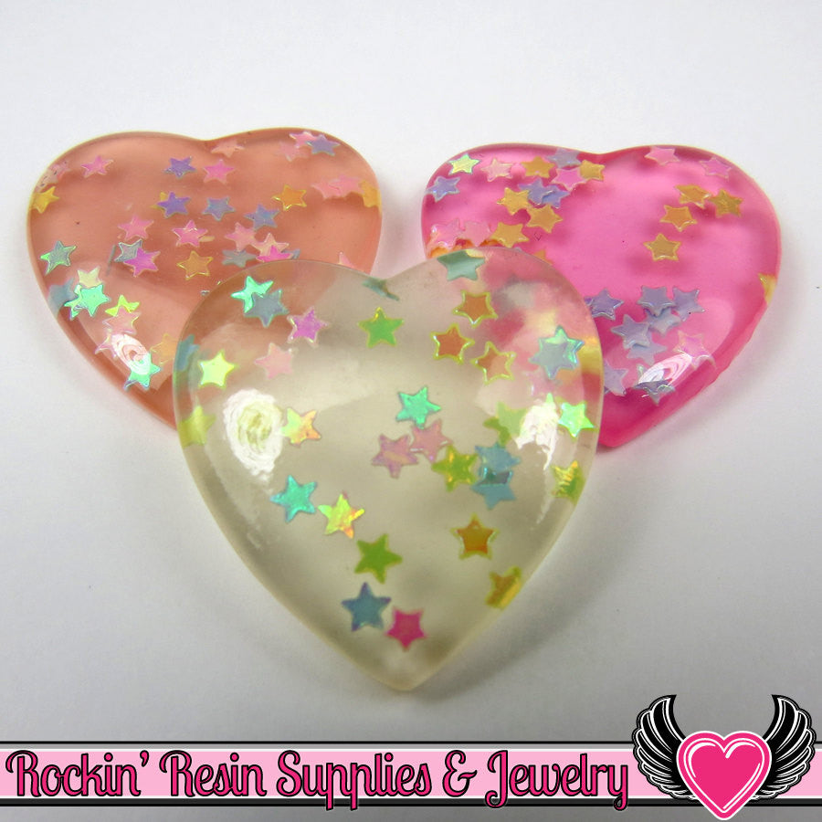 CONFETTI STAR HEARTS Flatback Resin Decoden Cabochons (6 pieces)